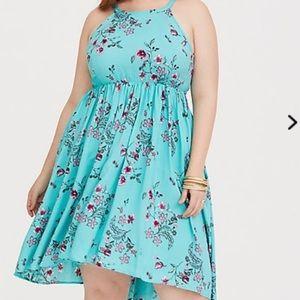 Turquoise Floral Hi Lo Challis Dress